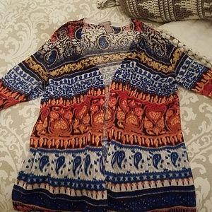 CHICOS short sleeve 3/4 open sweater